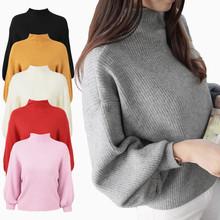 跨境货源日本外贸灯笼袖毛衣女套头宽松?#21487;?#21322;高领蝙蝠针织衫