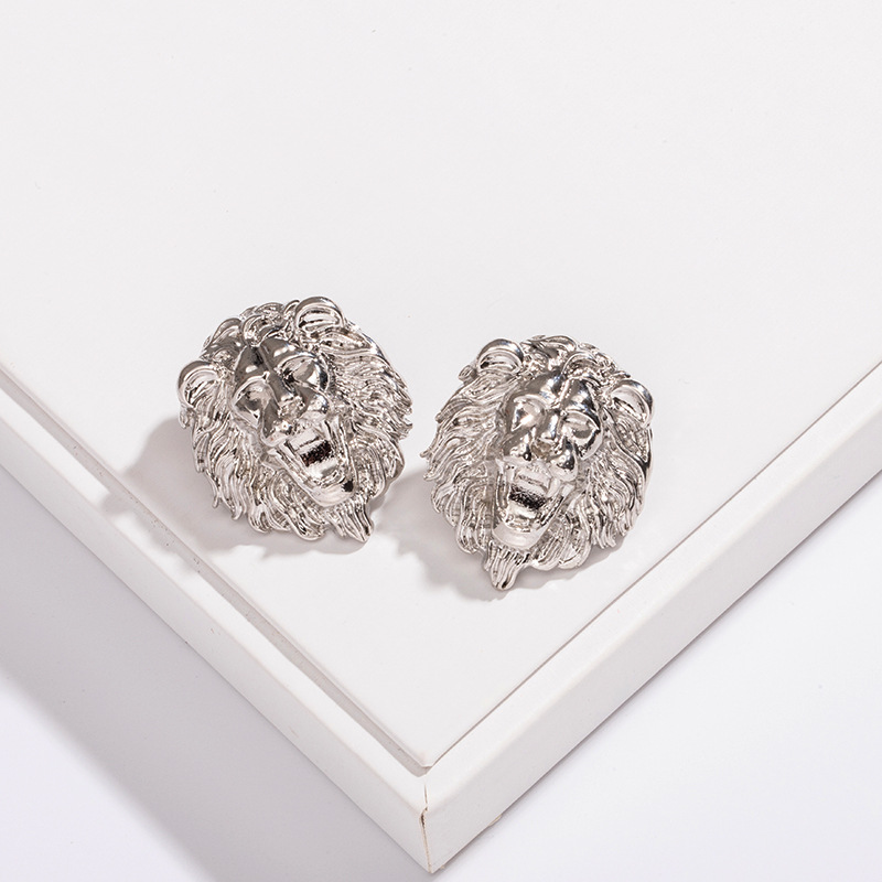 Wholesale new retro exaggerated round lion head punk earrings for women NHAI242943
