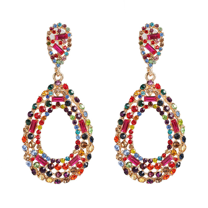 Womens Drop Shaped Diamond Alloy Earrings NHJJ149858