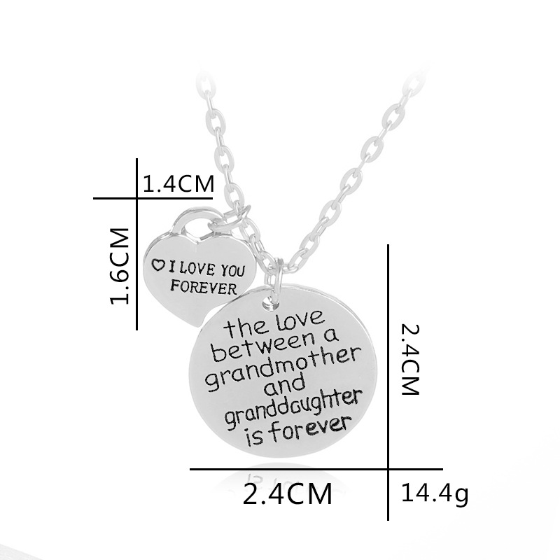 Simple I LOVE YOU FOREVER English Tag Necklace Mother's Day Gift Heart Pendant Necklace NHMO209075