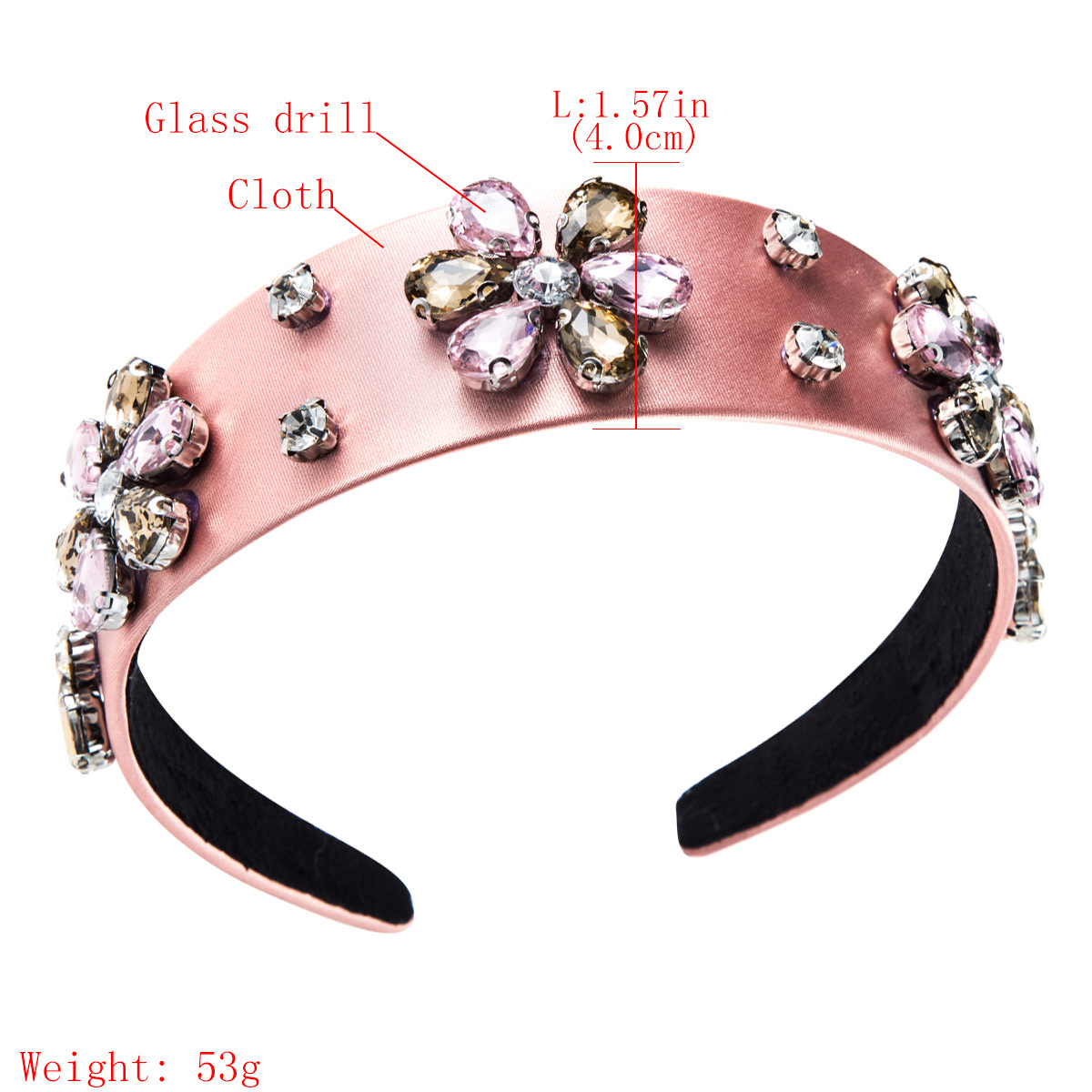 Solid color cloth with diamond flower headband NHJE157186