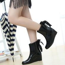 韩版女士短筒雨鞋坡跟雨靴浅口蝴蝶结水鞋潮流防滑胶鞋成人女套鞋
