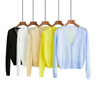 Ice silk knit sweater women's cardigan thin section long-sleeved short section Slim outer shawl small coat air conditioning sunscreen shirt 2021