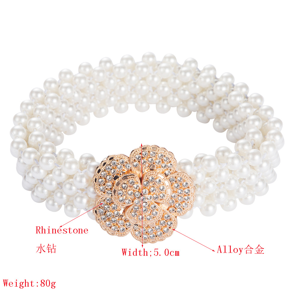 Europe and the United States Za alloy diamond multi-layer pearl belt wild clothing accessories new rose waist chain ladies waist ornaments NHLN191311