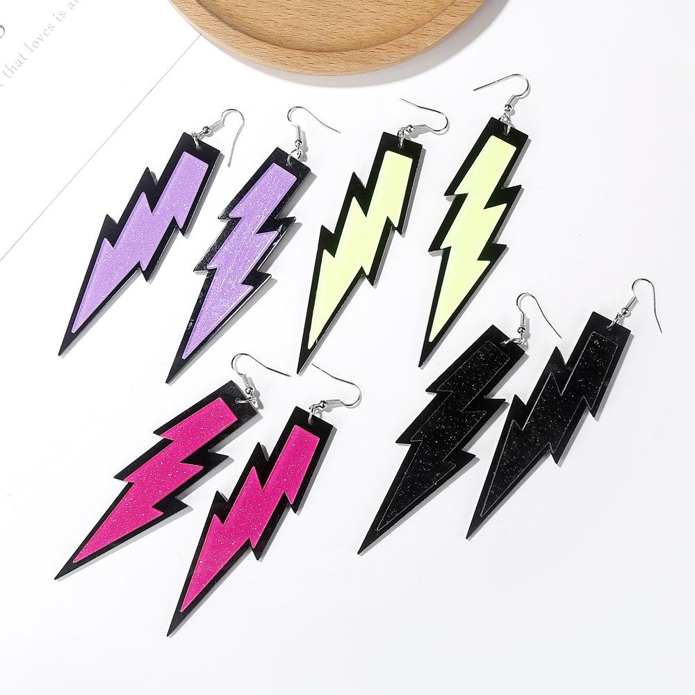 Nuevos pendientes colgantes de rayos tridimensionales pendientes acrílicos exagerados joyería divertida y creativa NHXI176926