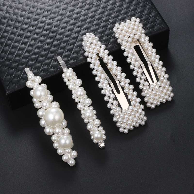 Womens Electroplated Alloy  Fashion simple word beads hairpin Hair Accessories GY190416117613