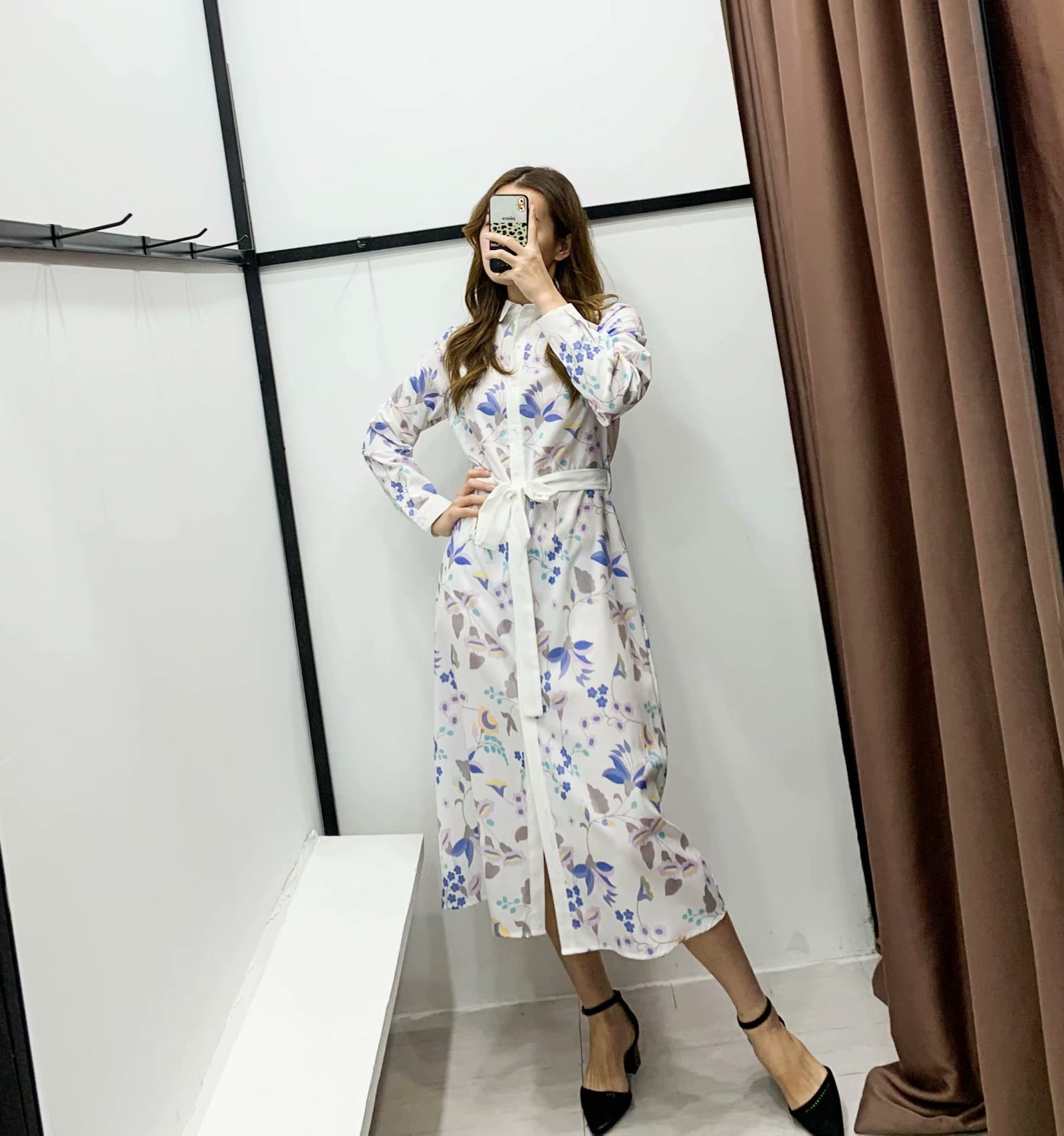 Wholesale Spring Pointed Collar Breasted Long Sleeve Dress NHAM196258