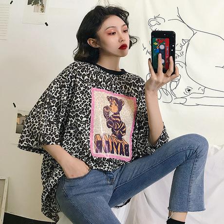 2019 đầu xuân mới áo thun ngắn tay nữ phiên bản Hàn Quốc của hương vị hoang dã lạ màu đỏ  gió lười tang da báo
