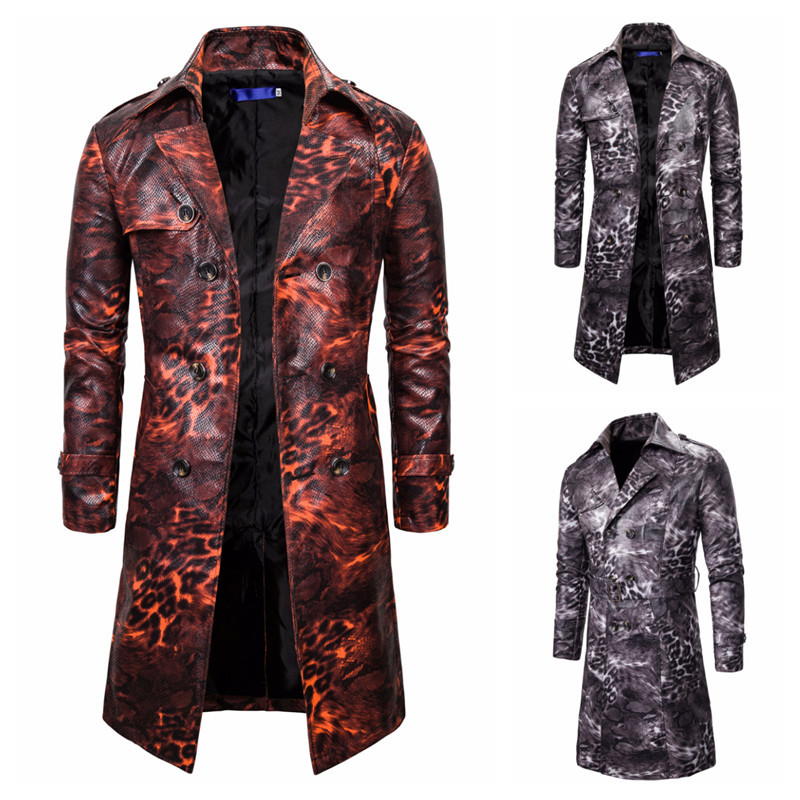 New autumn foreign trade men's European style leopard print double breasted long windbreaker men's casual top