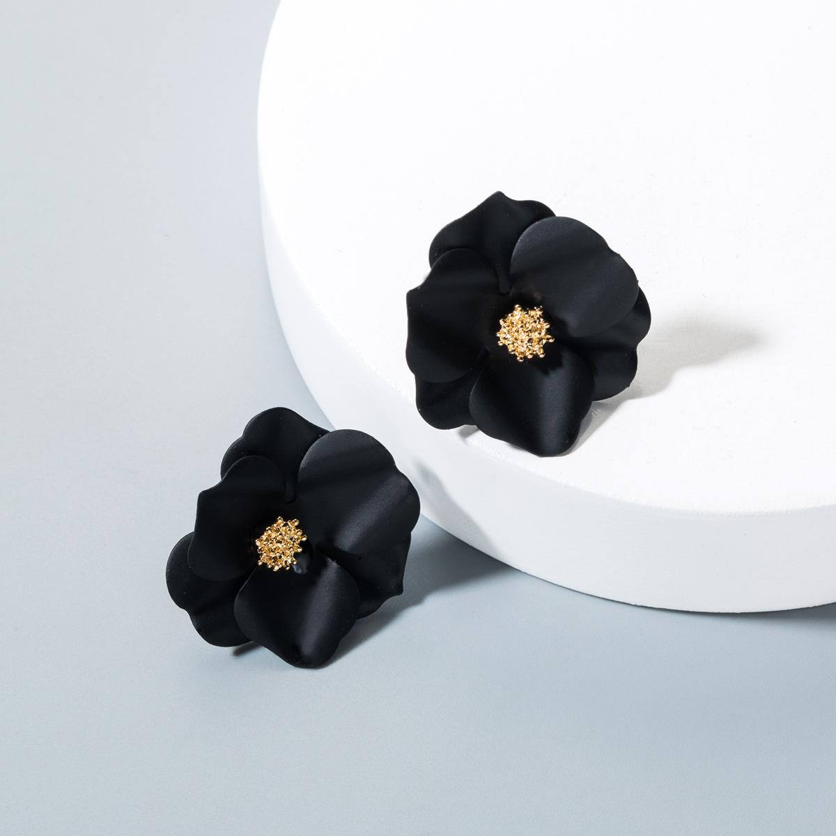 Fashion Rhinestone Flower Stud Earrings NHLN143512