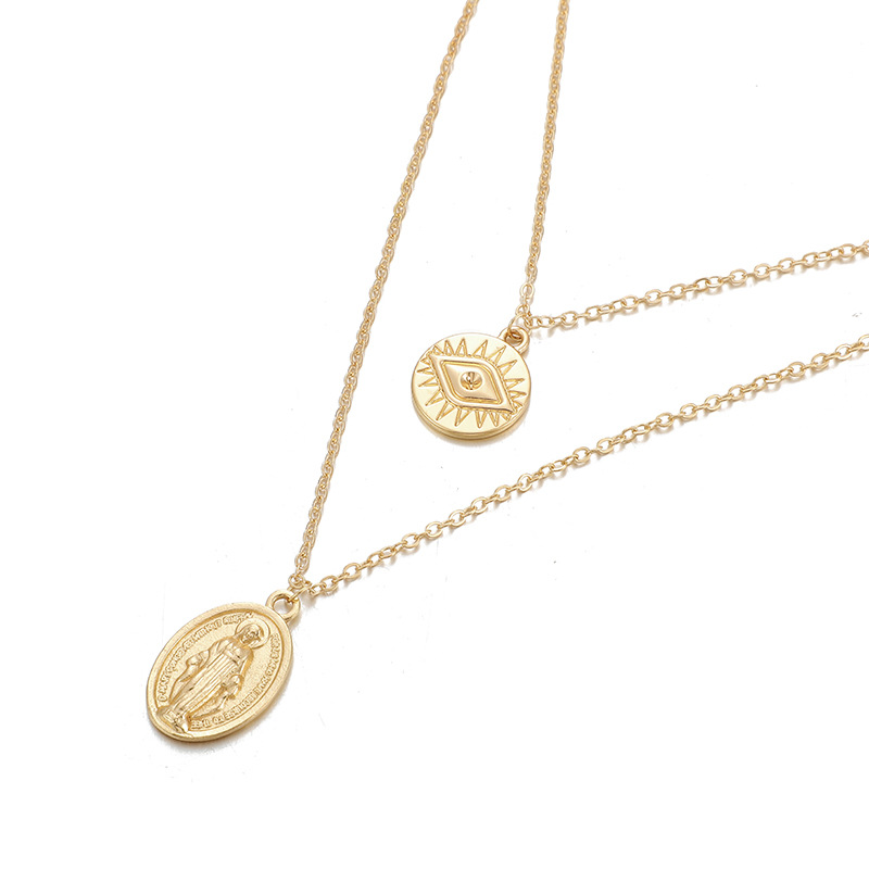 Disc Necklace Personality Round Eye Double Clavicle Chain Pendant NHGY183801