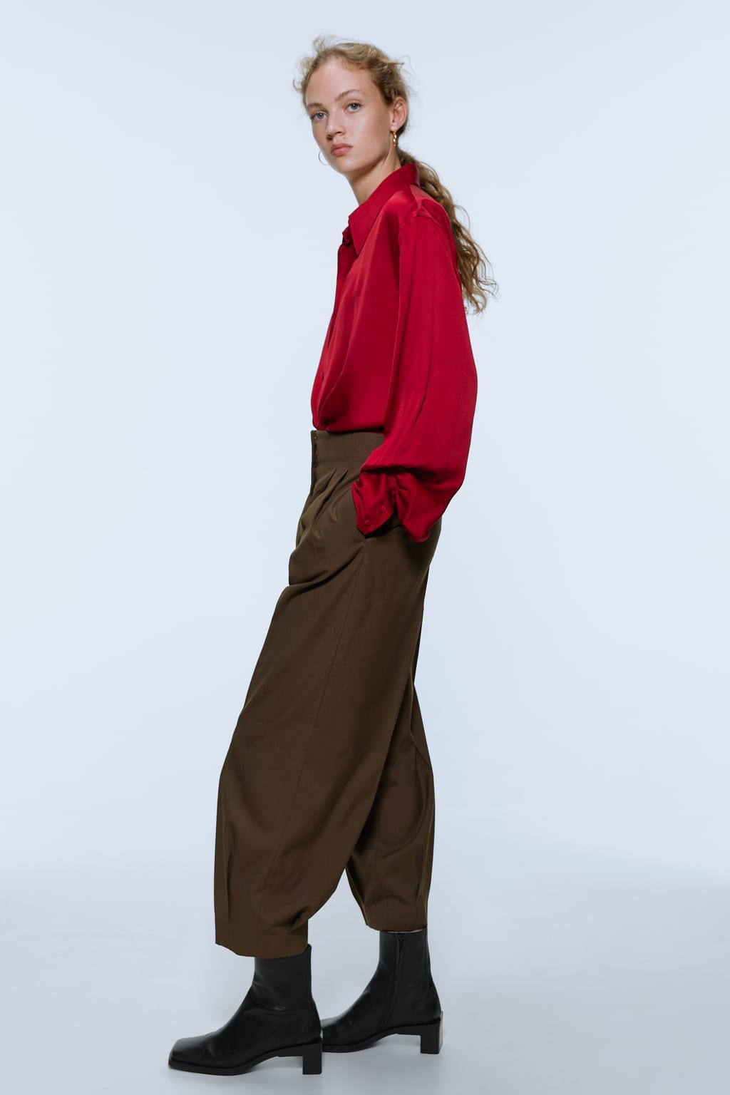 Stylish wide-sleeved silk satin texture shirt NHAM158446