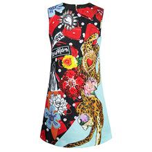 歐美豹子包包印花背心裙2019夏季新款女裝氣質鑲鉆亮片立體花短裙