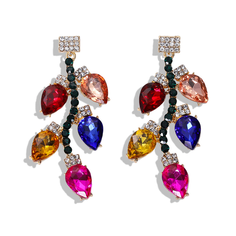 Alloy diamond earrings creative colorful dress accessories candy color rhinestone earrings NHJQ181704