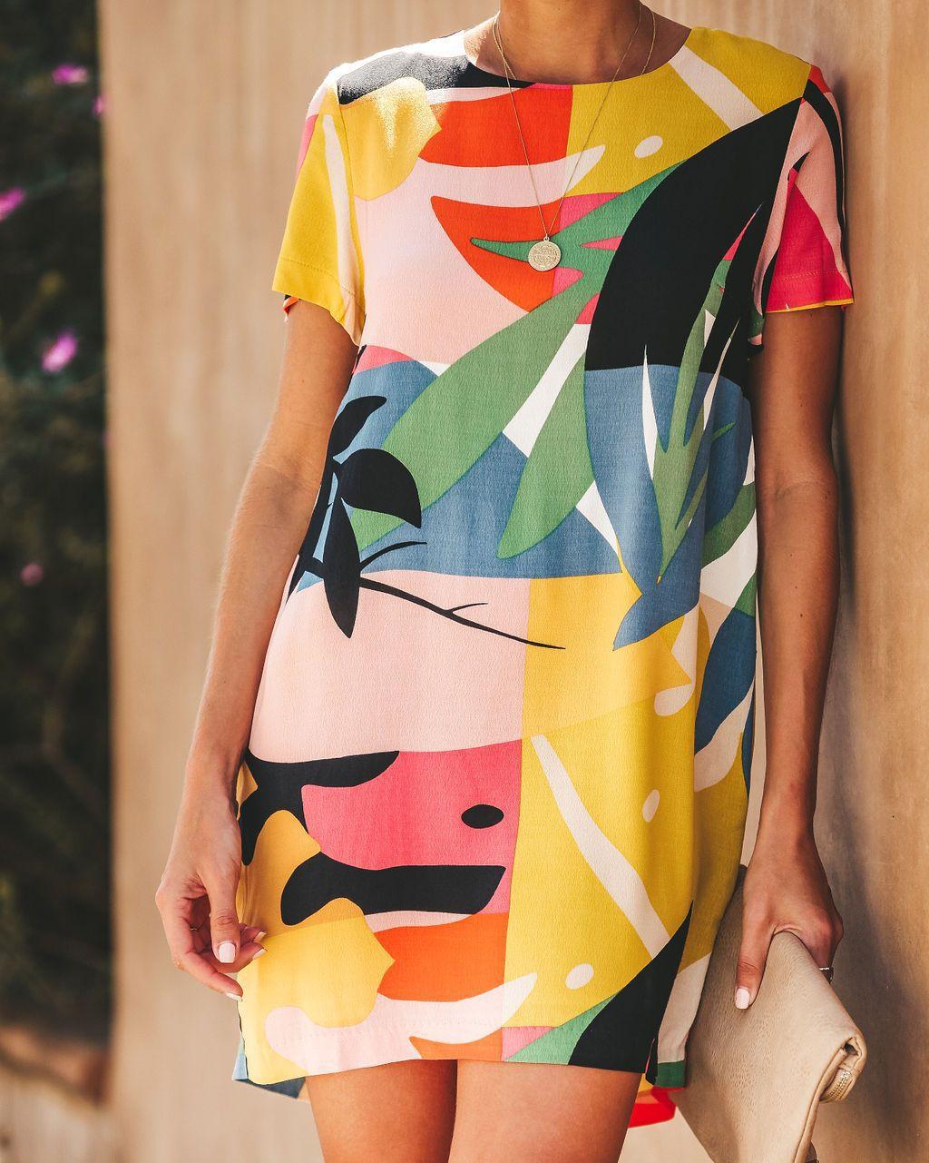速賣通WISH亞馬遜獨立站爆款2019歐美時尚拼塊圖騰方塊印花連衣裙