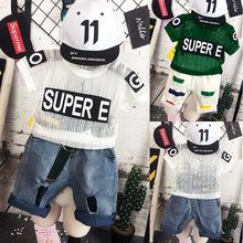 跨境男童2019夏款短袖套装?#34892;?#31461;短袖上衣儿童半袖体恤短裤两件套