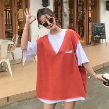 春装套装女2019新款韩版宽松短袖T恤上衣背心马甲洋气?#32441;?#20004;件套