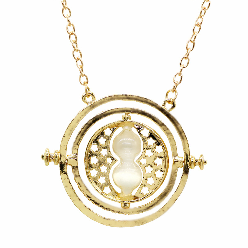 Cross-border hot selling jewelry in Europe and America Harry Potter Time Time Converter Hourglass Necklace AliExpress Hot Sale White sand