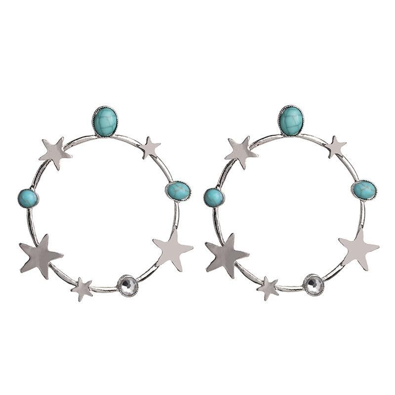 Aretes de estrella con baño de plata pendientes de estrella geométricos al por mayor NHJJ190096