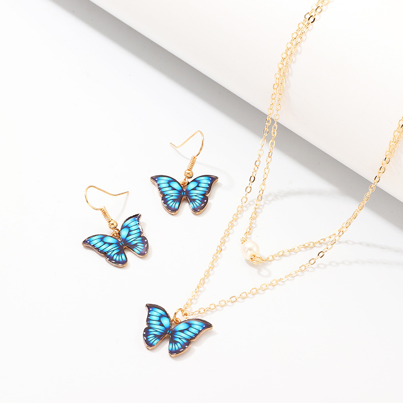 Butterfly necklace colorful realistic butterfly earring set wholesales fashion NHNZ181726