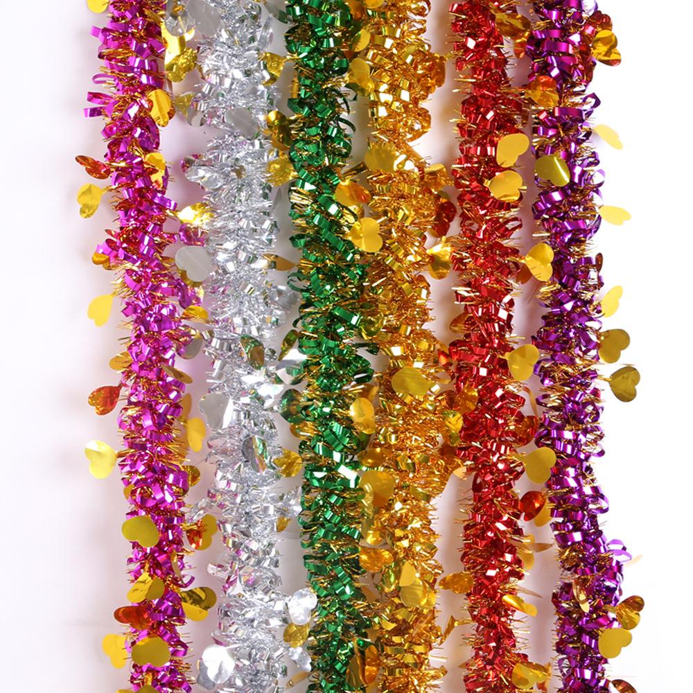 桃心彩带毛条装饰彩条七彩色婚庆场景布置天花板扶手装饰圣诞拉花