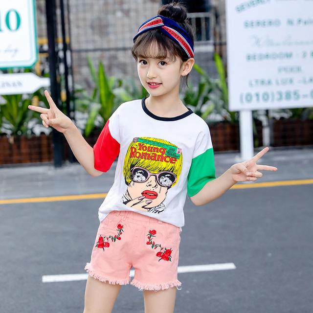 Trẻ em mặc 2019 hè mới Hàn Quốc thời trang giản dị big boy hoạt hình thư đẹp thiết lập một thế hệ Bộ đồ trẻ em