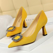 1878-7 European and American fashion sexy banquet high heels show thin high heels suede shallow mouth pointed water drill buckle single shoes