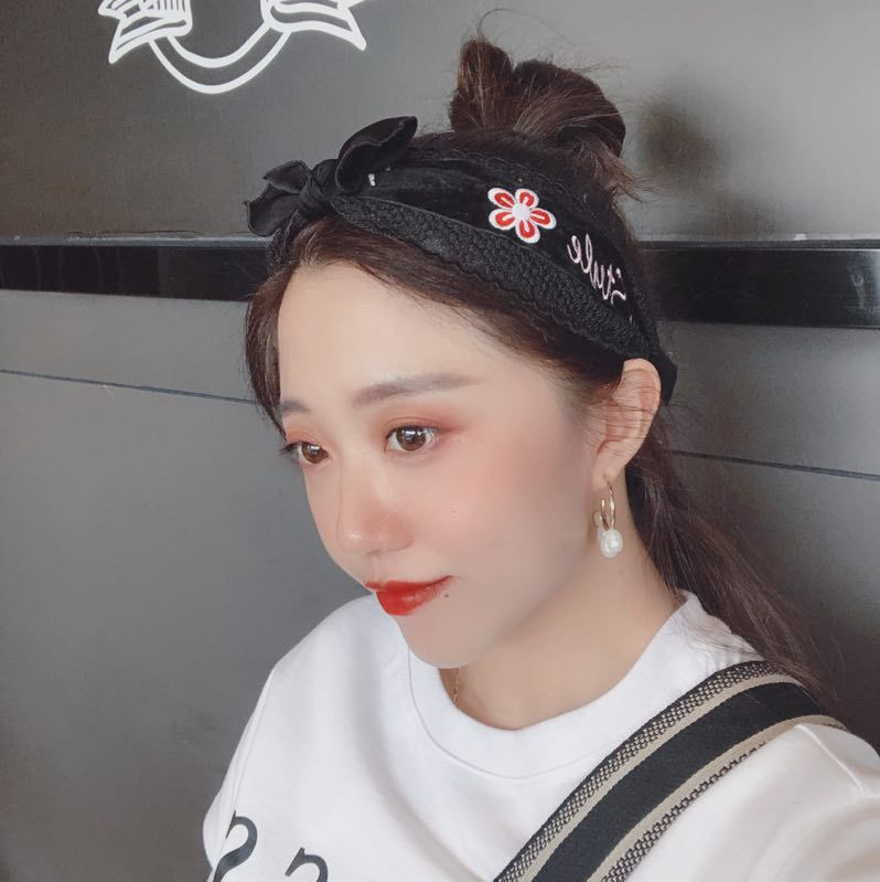 Korea new retro lace wide-sided flannel printed letter headband NHAR293910