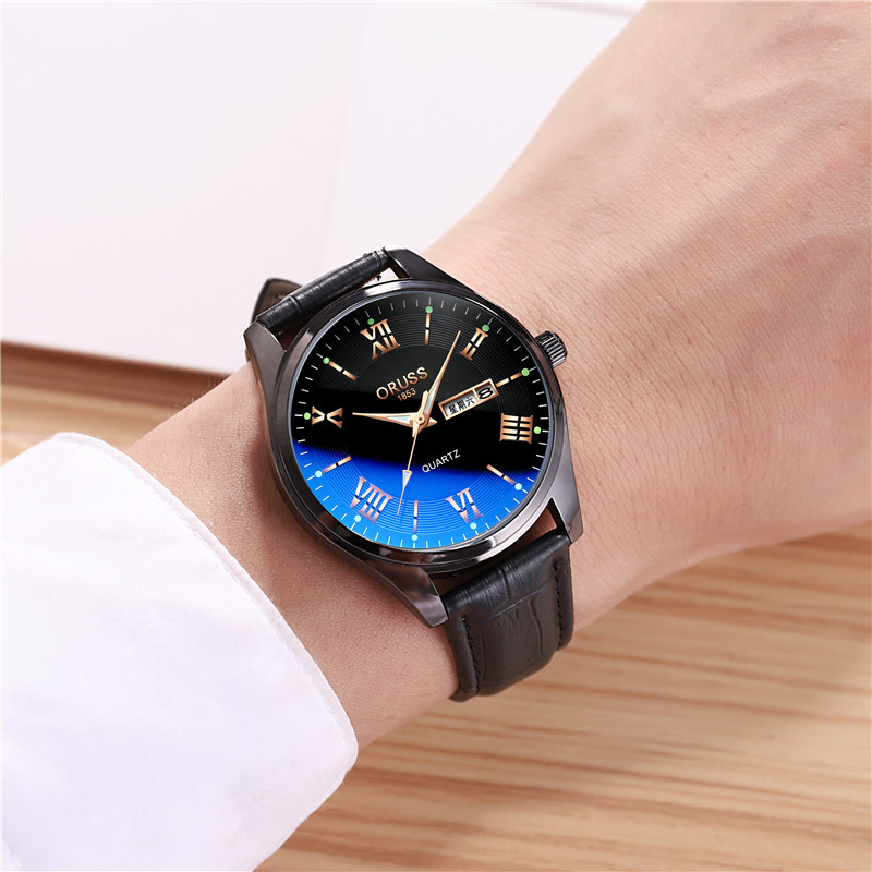 Chinese Brand Men's Watch Simple Ultra-thin Belt Korean Version Of Luminous Leisure Waterproof Double Calendar Student Quartz Watch
