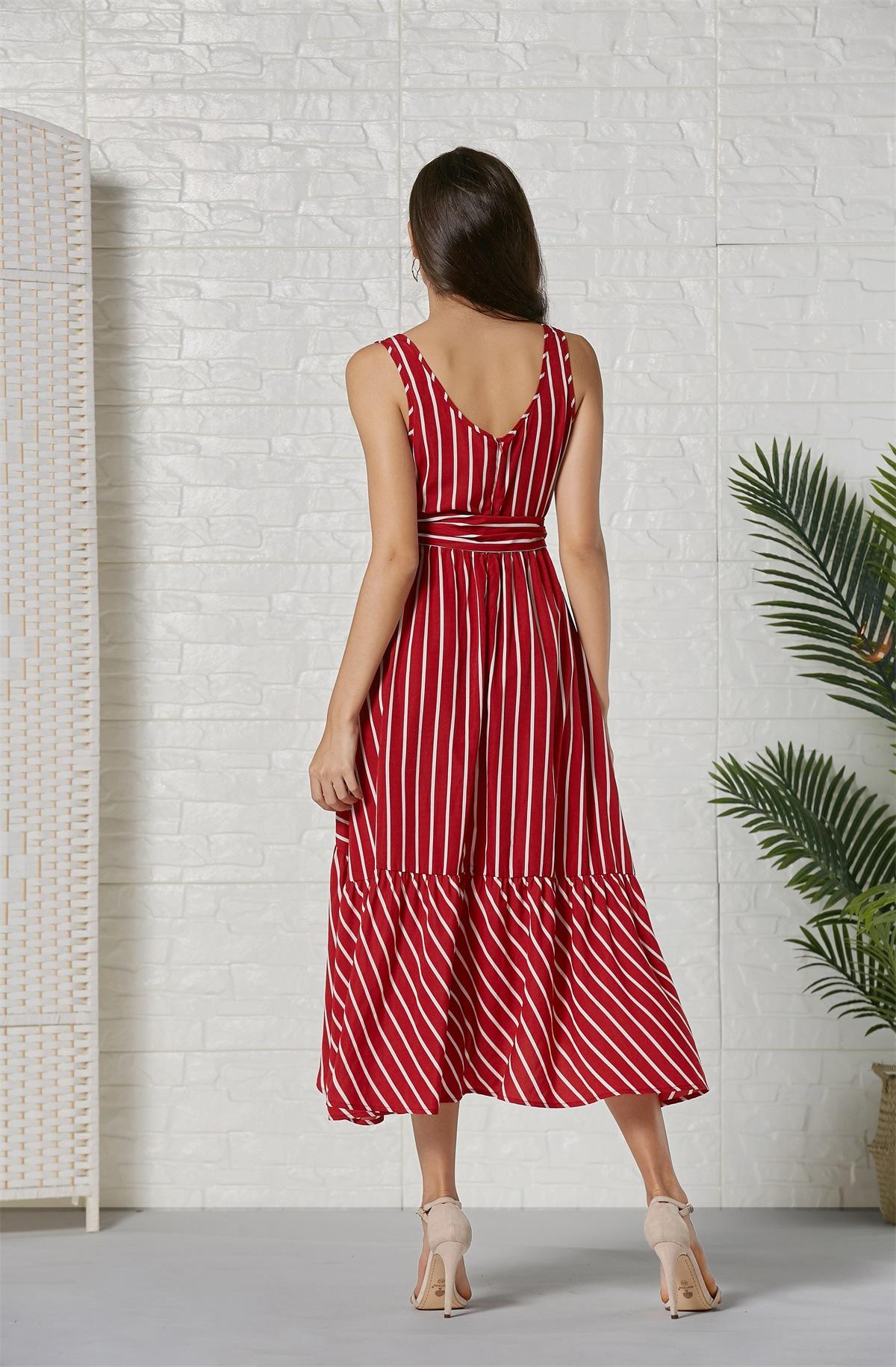 new sling stripe print stitching dress NSSE36100