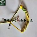 黄绿双色接地线 螺旋接地线 伸缩线 弹簧线 PU双色螺旋线2.5平方