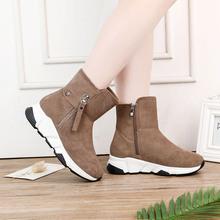 厂家直销爆款2019冬季棉靴侧拉链真皮雪地靴女韩版运动风加绒棉鞋