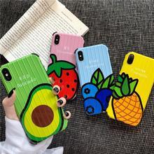 夏天草莓牛油果行李箱iPhoneX手机壳Xr苹果XsMax水果软壳8p/7plus