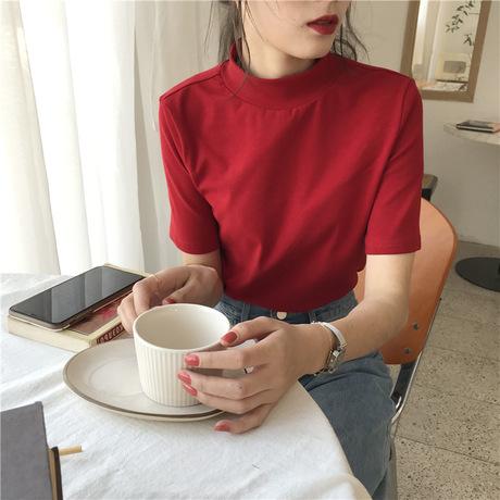 박시 2019 봄여름신상 심플 반목털 반팔 티셔츠