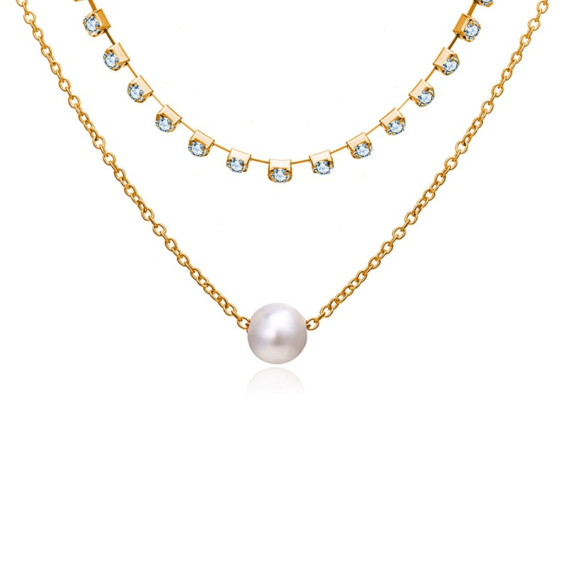 Creative vintage pearl clavicle chain necklace NHPJ157396