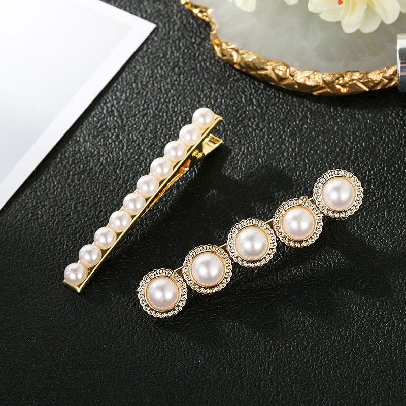 Hair accessories for girls Simple Korean hair accessories a word pearl hairpin bangs clip alloy wholesales fashion NHSD179206
