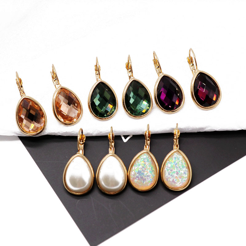 New fashion retro drop-shaped glass diamond earrings oval glitter gemstone earrings NHOM211541