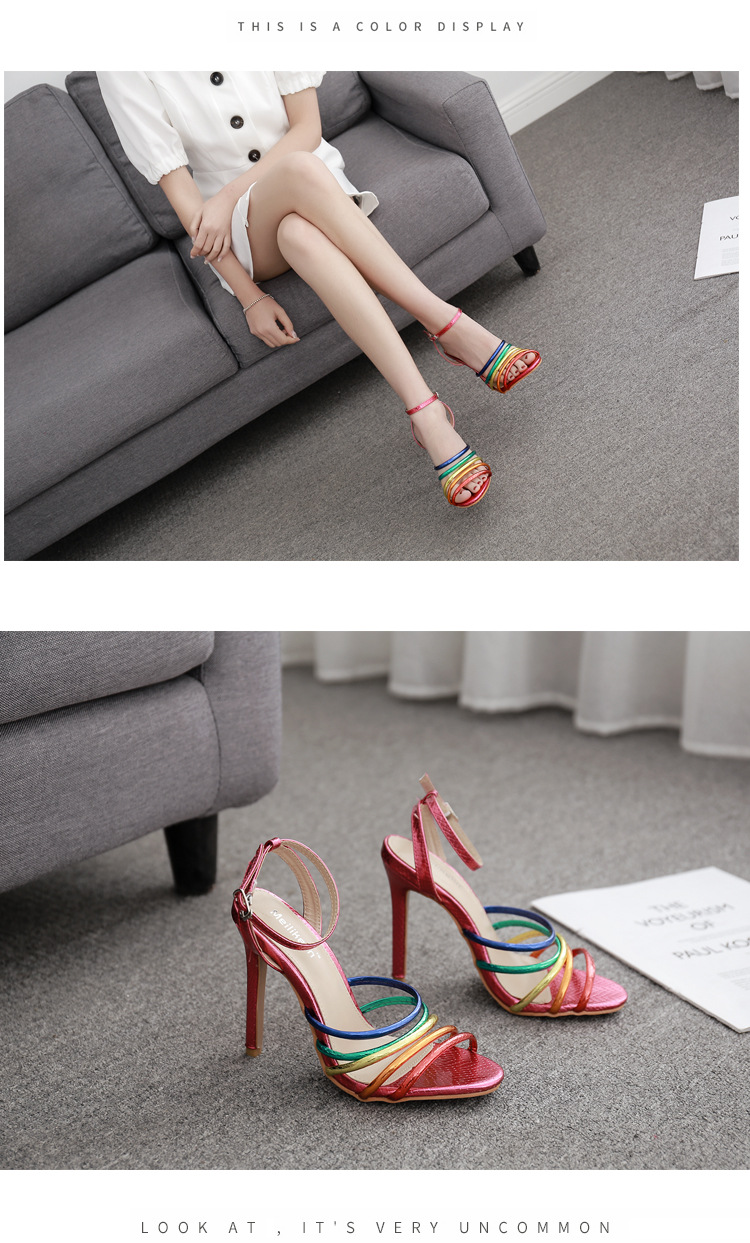 High-heeled Roman shoes sexy color thin strap fashion sandals NHSO153224