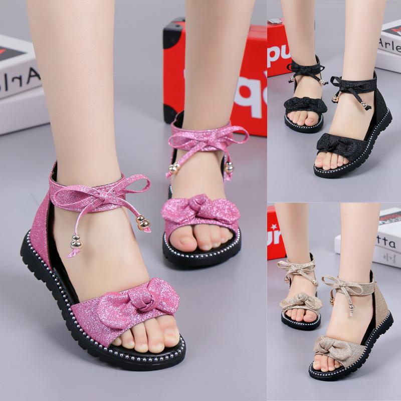الصنادل الفتيات الصيف 2020 موضة جديدة النسخة الكورية من أحذية الأميرة الأطفال الكبار الفتيات الصغيرات لينة أسفل أحذية الأطفال الروماني