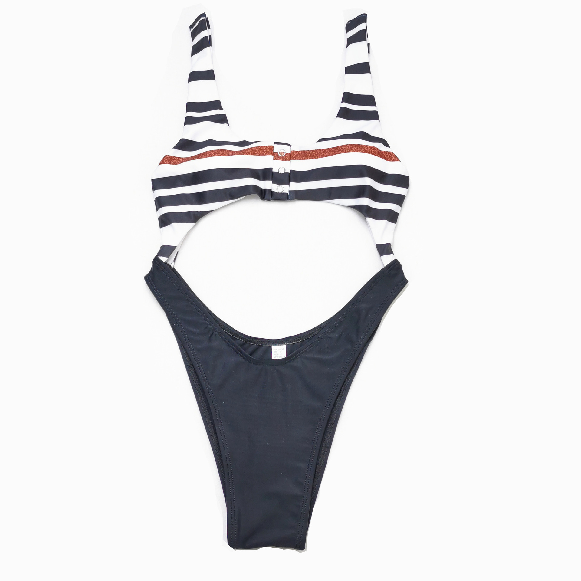New One Piece Swimsuit Navy Stripe Sexy Hollow Backless Bikini NHHL206331