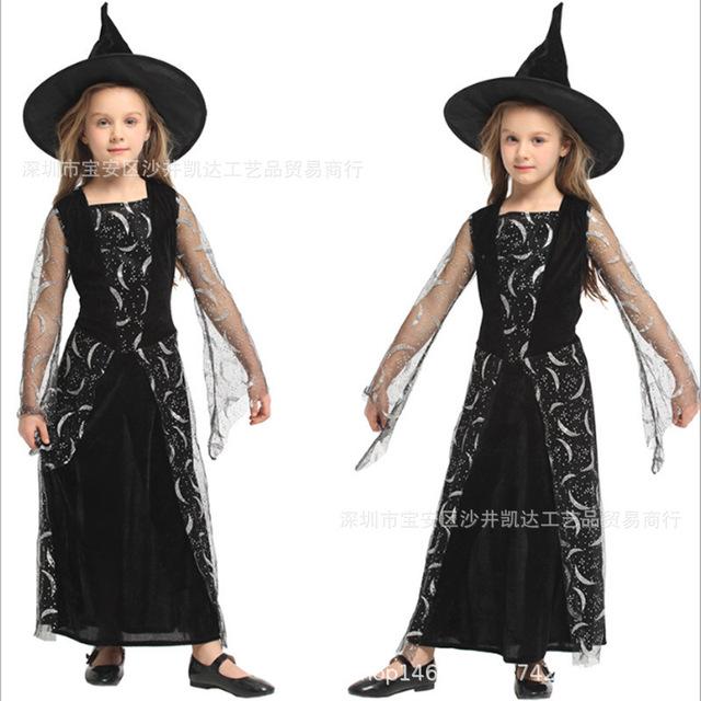 万圣节儿童表演服装 女童巫师巫婆装扮演出服 女童Cosplay魔法师