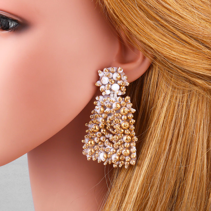 New metallic beige beads earrings earrings female NHAS175387