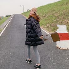 【言双】2019冬季新款韩版连帽假两件保暖中长款棉衣外套女1001
