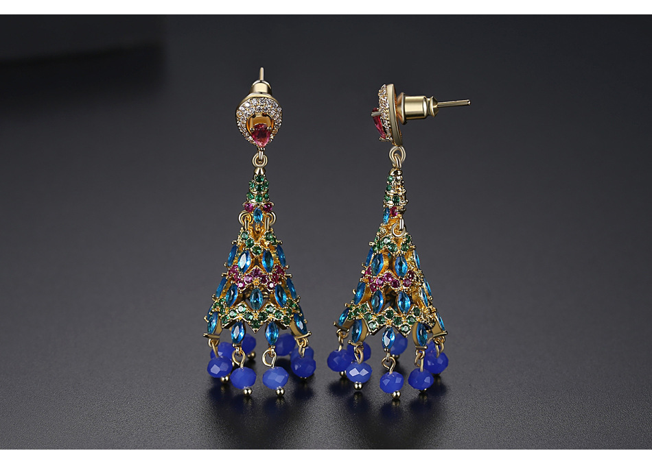 Retro new zircon earrings fashion party ladies national wind bell earrings NHTM199582