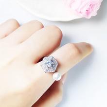 抖音同款旋转戒指s925纯银小雨伞珍珠食指指环微镶满钻开口可调节
