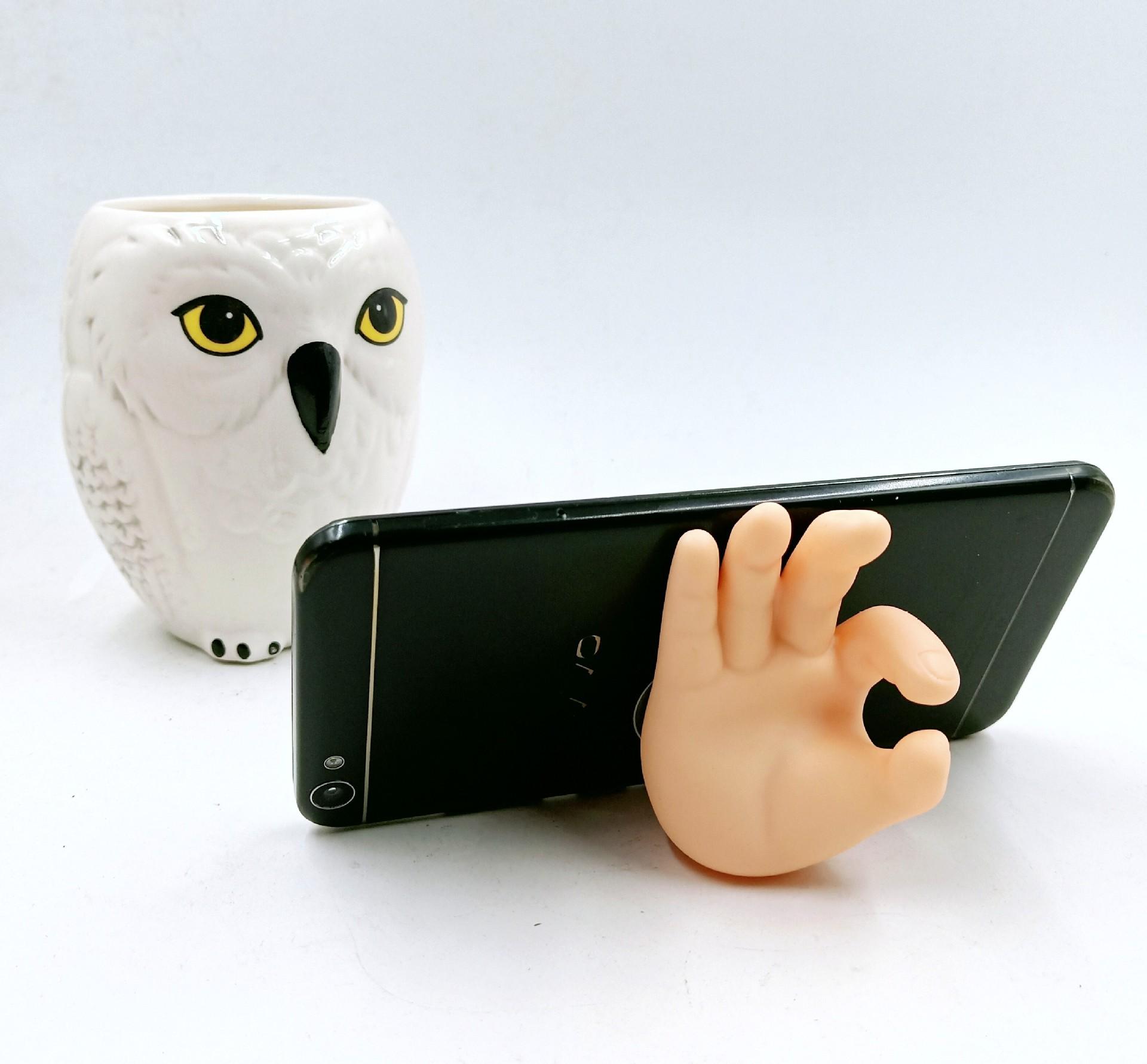 OK手吸盘挂钩耶手指浴室吸盘牙刷架置物架  多功能手机吸盘支架