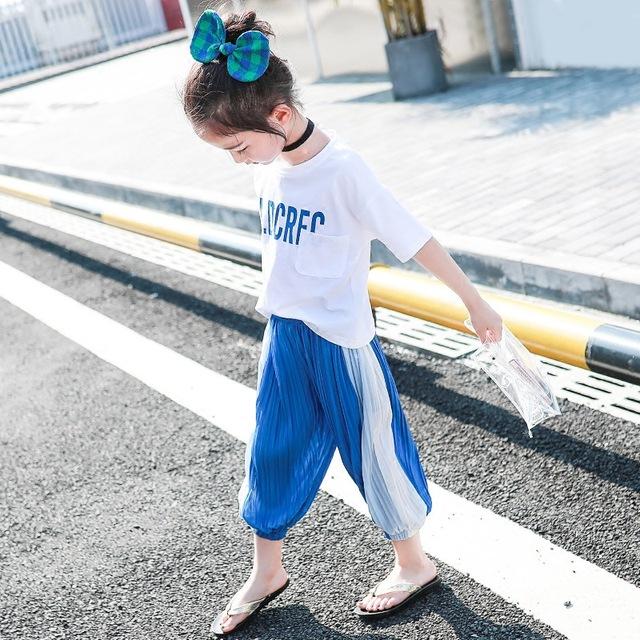 Quần áo bé gái mùa hè 2019 quần áo trẻ em mới phiên bản Hàn Quốc của trẻ em nước ngoài Đèn lồng ngắn tay cắt quần hai dây hợp thời trang Bộ đồ trẻ em