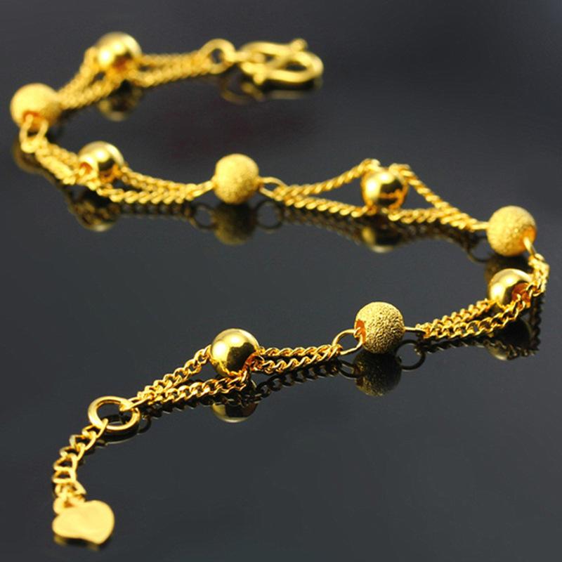 热卖镀黄金间沙珠手链 越南沙金串珠手链新款创意手链欧币金手链