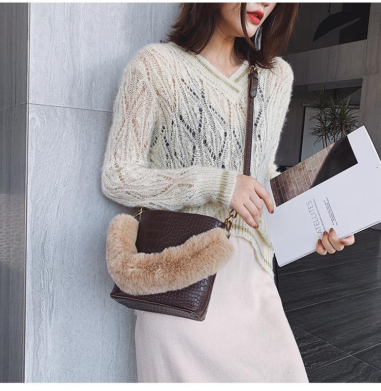 Shoulder Messenger Bag Crocodile Hair Plush Bag Wild Fashion NHPB174595