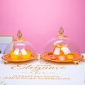甜品台蛋糕架金色亚克力果盘创意 现代家用客厅时尚茶几水果盘